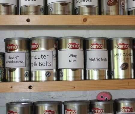 coffee tins as storage