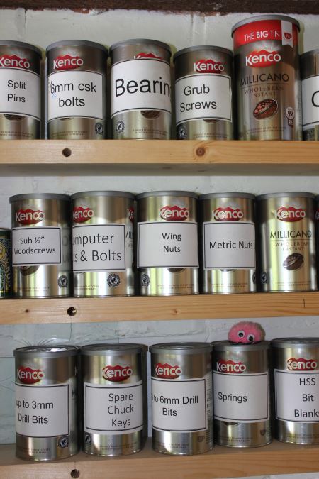 coffee tins as storage