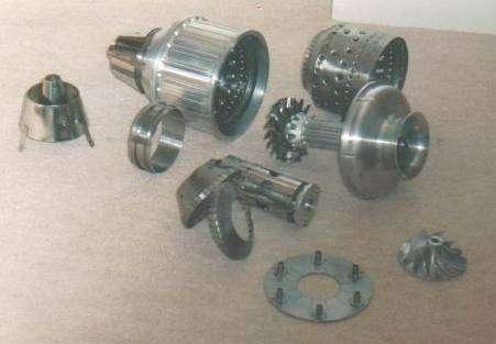 Model jet engine parts