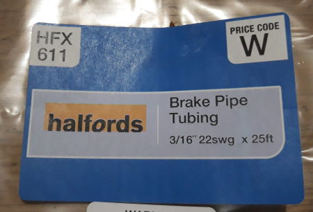 "brake pipe tubing 3/16"" and 22swg"