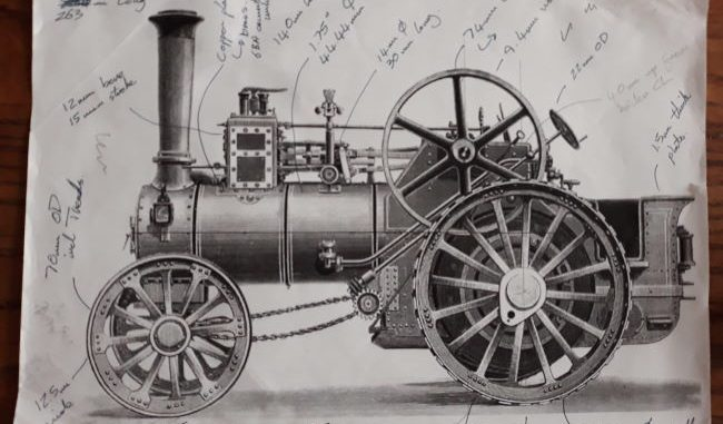 miniature traction engine drawing