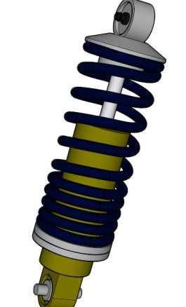CAD of a shock absorber and over type spring