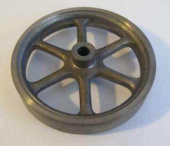 a cast iron flywheel