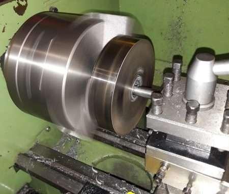 rear wheel rim blanks being machined