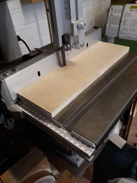 mdf cutting board on bandsaw table