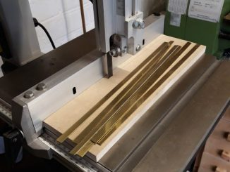 brass strips cut on the bandsaw