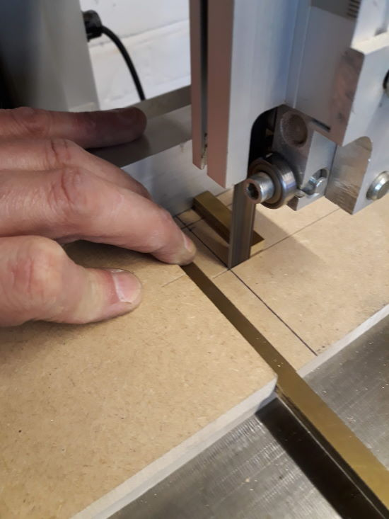cross-cutting brass on bandsaw