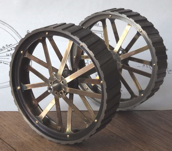 a pair of traction engine wheels