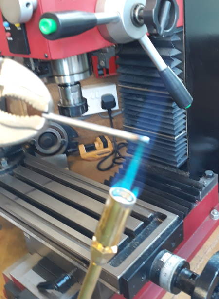 heating silver steel in a blow torch