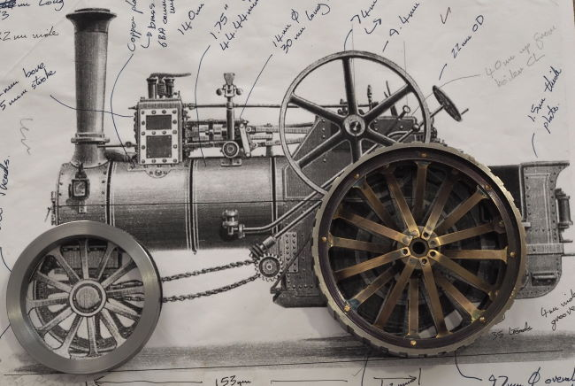 wheels overlaid on traction engine image