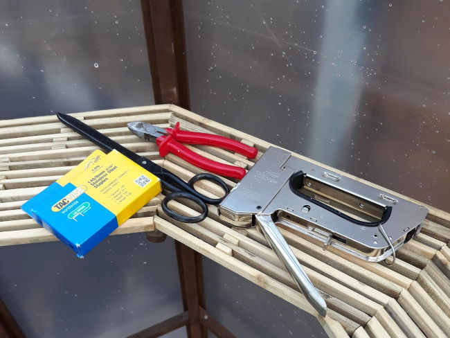 tools needed to cover a greenhouse in polythene
