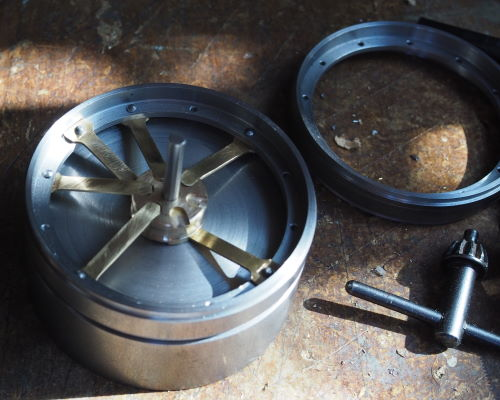 wheel assembly on the jig