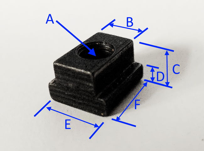 T-nut dimensions