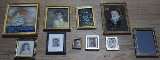 miniature paintings from the  1/12th scale antiques shop