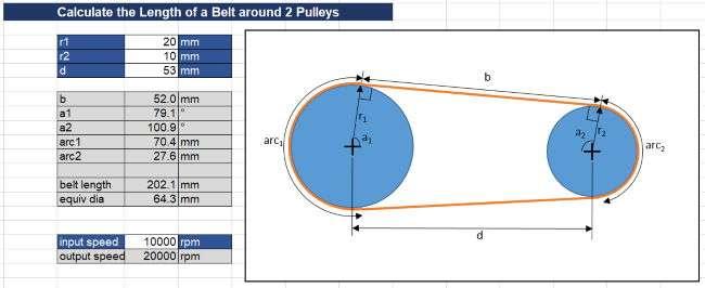 excel belt length calaculator