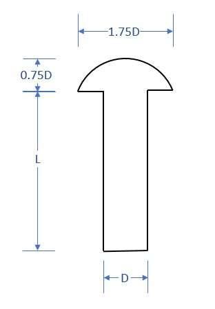 solid rivet dimensions
