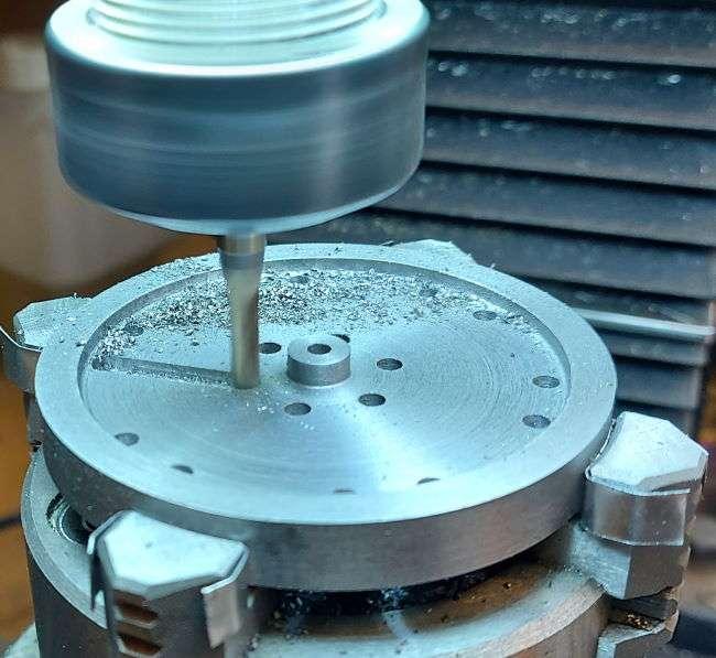 milling first slot in flywheel