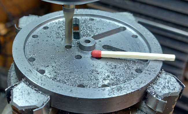 size of flywheel versus a matchstick