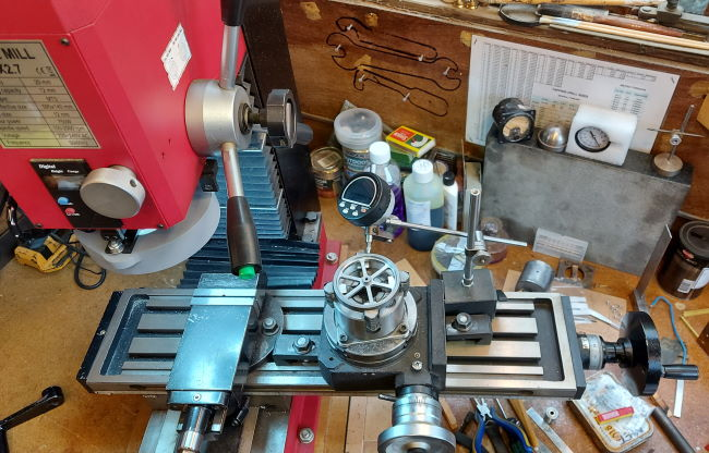 realigning the flywheel on the rotary table