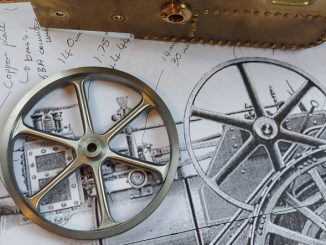 finished burrell flywheel on original drawing