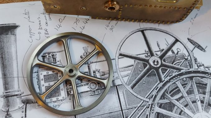 finished burrell flywheel on original drawing