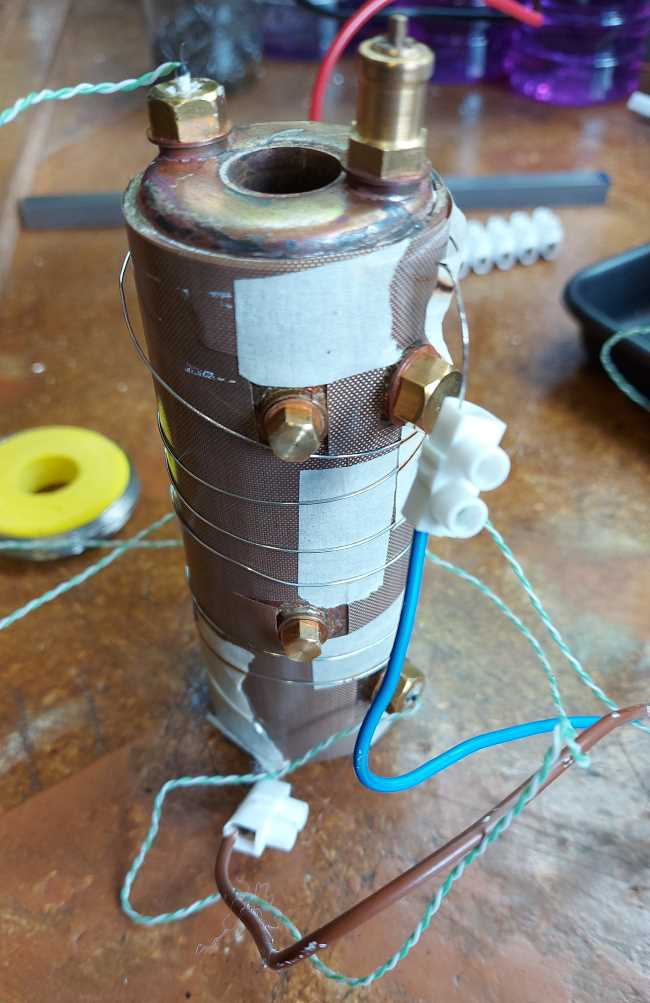 boiler wrapped in teflon and then in 1m length of nichrome wire