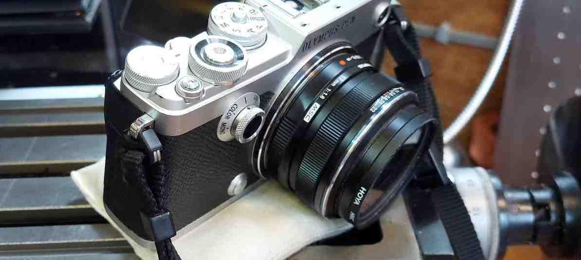 camera on a sand bag