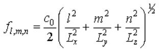 room acoustic mode equations