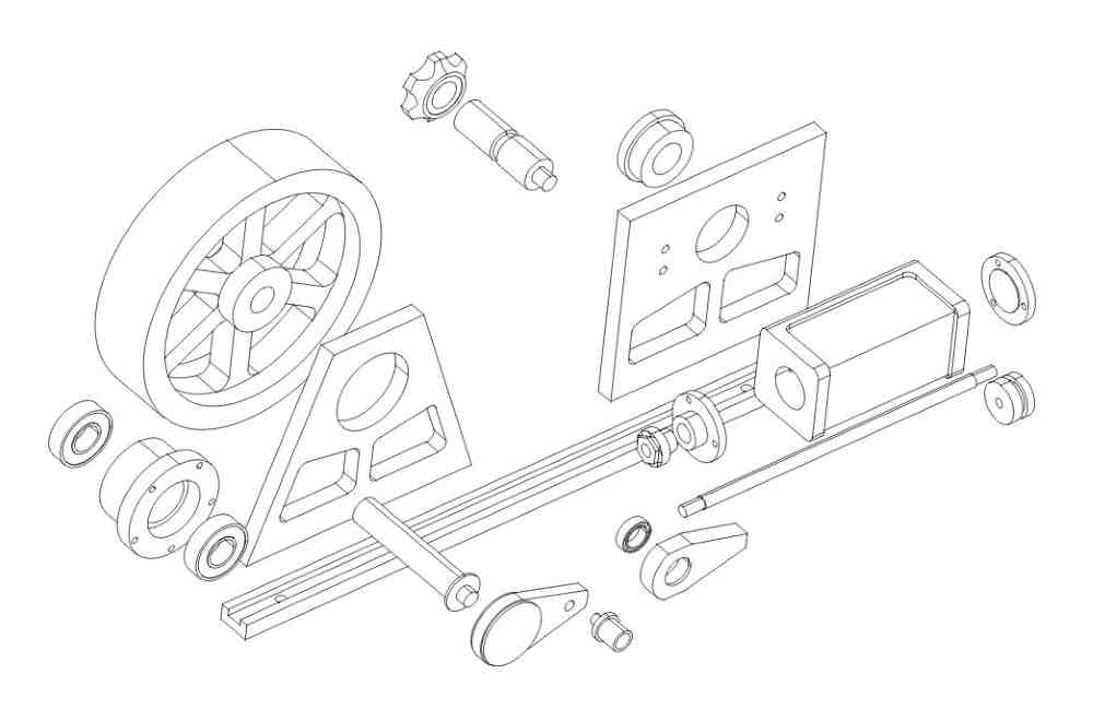 assembly drawing of oscillating steam engine