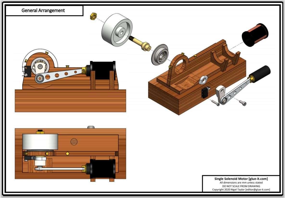 single piston solenoid motor plan